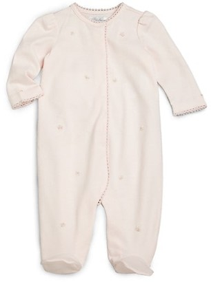 Ralph Lauren Baby Girl's Embroidered Rosette Cotton Footie