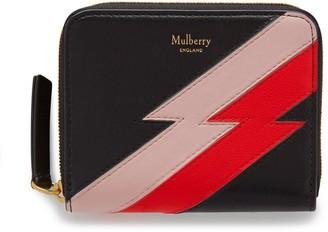 Mulberry Small Zip Around Purse Black Multi-Colour Flash