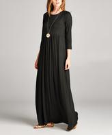 Black Three-Quarter Sleeve Maxi Dress
