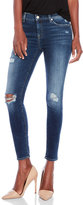 7 For All Mankind Dark Distressed Skinny Ankle Jeans