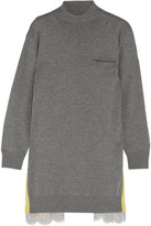Sacai Oversized Lace-trimmed Wool And Cotton-blend Turtleneck Sweater - Light gray