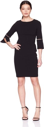 Calvin Klein Women's Petite Solid Sheath with Detailed Split Sleeve Dress