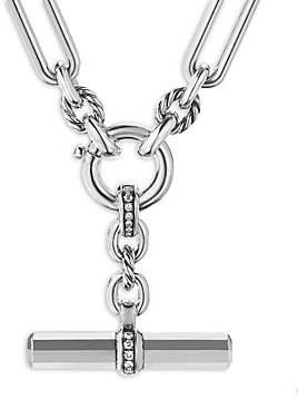 David Yurman Sterling Silver Lexington Link Necklace with Diamonds, 18