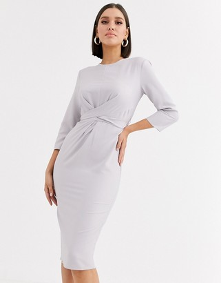 ASOS DESIGN tie wrap around midi dress