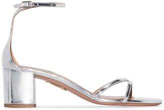 Aquazzura Purist 50mm metallic sandals