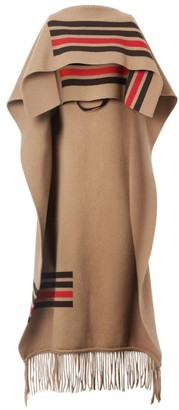 Burberry Wool-Cashmerestriped Cape