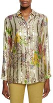 Etro Long-Sleeve Floral Striped Blouse