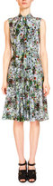 Erdem Sleeveless Tie-Neck Floral-Print Dress, Light Blue/Multi