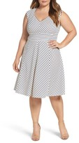 Adrianna Papell Plus Size Women's Stripe Fit & Flare Dress
