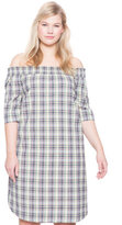 ELOQUII Plus Size Studio Plaid Off the Shoulder Dress