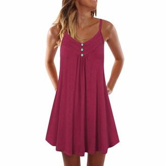 Toamen Women's Dress Toamen Womens Summer Casual Dresses Sale Sleeveless Spaghetti Strap Button Plain Pleated Tank Beach Party Holiday A-Line Mini Dress(Red 22)