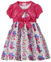 Nannette Toddler Girl Rosette Print Dress & Shrug Set