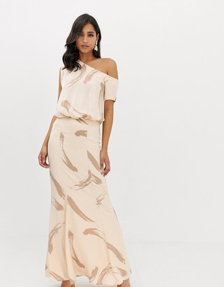 Asos Design DESIGN one shoulder satin drape maxi dress in brush stroke print-Beige
