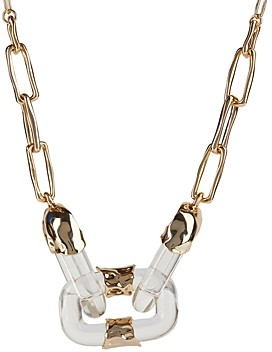 Alexis Bittar Lucite & Crumpled Chain Link Statement Necklace, 18