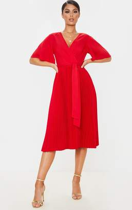 PrettyLittleThing Red Pleated Midi Dress