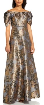 Adrianna Papell Petite Off-The-Shoulder Metallic Floral-Print Gown