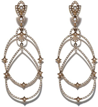 Loree Rodkin 18kt yellow gold Michelle diamond pave earrings