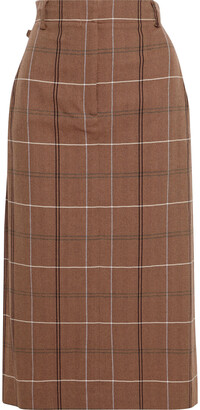 Acne Studios Checked Herringbone Wool And Cotton-blend Midi Skirt