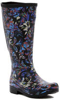 Chooka Flex Fit Elastic Brocade Tall Waterproof Rainboot - Wide Calf Fit (Women)
