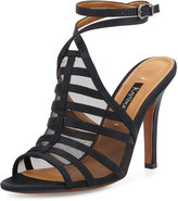 Kay Unger Aminda Strappy Mesh-Inset Sandal, Black