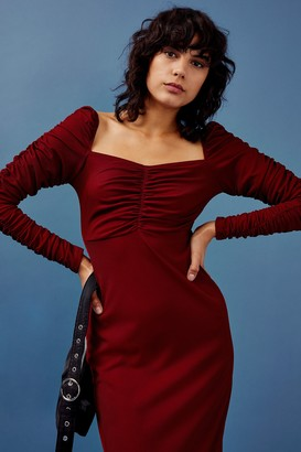 Topshop Burgundy Ribbed Ruched Jersey Midi Dress