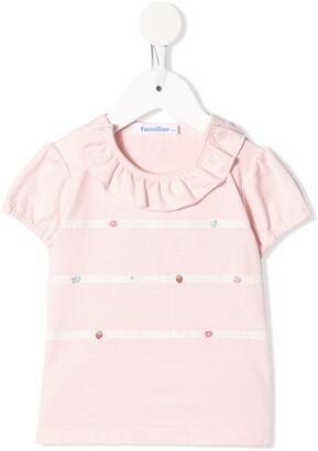 Familiar ruffle-trimmed cotton T-shirt