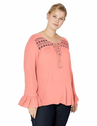 One World ONEWORLD Women's Plus-Size Ruffle Sleeve Embroidered Peasant Top