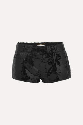 Saint Laurent Sequined Wool Shorts - Black