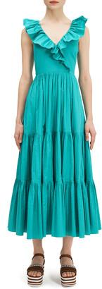 Kate Spade V-Neck Sleeveless Ruffle Tiered Poplin Dress