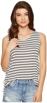 BB Dakota Loren Stripe Lace-Up Side Knit Tank Top Women's Sleeveless