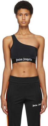 Palm Angels Black One Shoulder Sports Bra