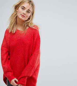 Weekday Hi Lo Knit Jumper-Red
