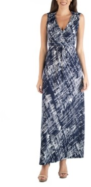 24seven Comfort Apparel Empire Waist Geometric Maxi Dress with Belt