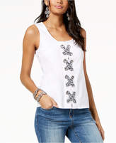 INC International Concepts I.n.c. Gingham Lace-Up Tank Top, Created for Macy's