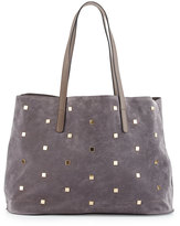 Neiman Marcus Studded Faux-Suede Tote Bag, Gray