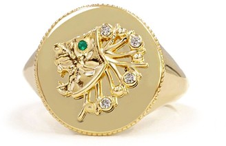 Noush 14kt yellow gold Daric Power diamond and emerald lion signet ring