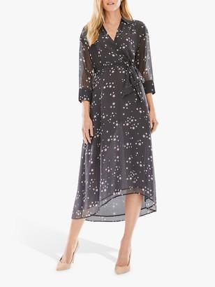Pure Collection Star Print Midi Dress, Navy