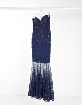 Goddiva embellished maxi dress with sheer sequin overlay in navy