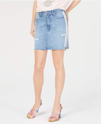 KENDALL + KYLIE White-Stripe Distressed Jean Skirt