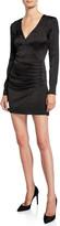 Jay Godfrey V-Neck Long-Sleeve Shirred Satin Mini Dress