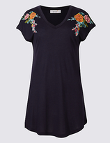 Per Una Pure Modal Floral Embroidered T-Shirt