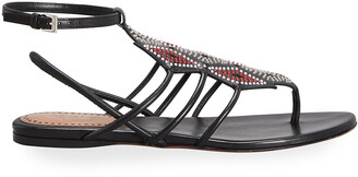 Alaia Beaded Gladiator Flat Thong Sandals