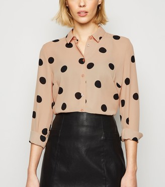 New Look Camel Spot Print Long Sleeve Shirt