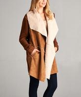 Brown Open-Front Faux Suede Coat