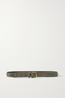 Isabel Marant Zalo Studded Leather Belt - Army green
