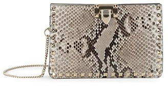 Valentino Rockstud Python-Embossed Leather Clutch