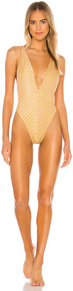 Luli Fama Rebel Glam Deep V Crossed Back One Piece Bodysuit