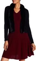 Sofia Cashmere Genuine Dyed Fox Fur Trimmed Cashmere Cardigan