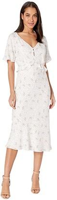 Cupcakes And Cashmere Delphine 'Mini Buds' Rayon Midi Dress w/ Ruffle Waist (Marshmallow) Women's Dress