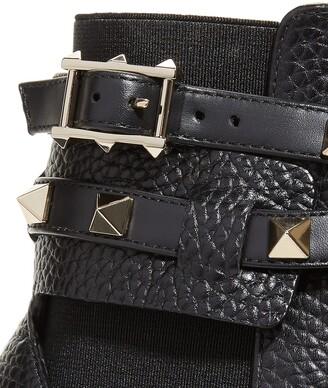 Valentino Garavani Rockstud Buckle-Wrap Ankle Booties